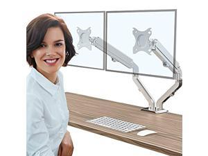 """abovetek dual monitor stand for 17""""-27"""" screens, fully adjustable gas spring double arms monitor fits 75/100mm vesa mount, lcd heavy duty desk stand for 2 monitors, each arm holds"""