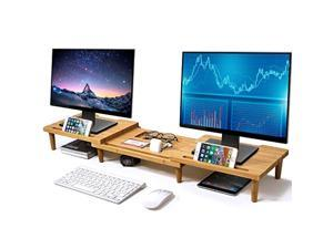 pezin & hulin bamboo dual monitor stand riser for desk organizer, adjustable length and angle multi(1/2/3) screen stand, office wood desktop stand storage for computer, laptop, pc,