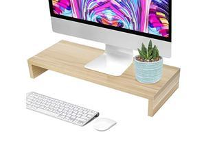 computer monitor stand riser, computer monitor riser desk table led tv stand shelf desktop laptop organizer for office home living room (wooden color)