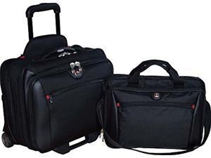 """swissgear potomac 2-pc business set with double zipper overnighter rolling case and matching 15.4"""" laptop case"""