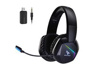 somic 2.4g wireless gaming headset with microphone for ps5, ps4, computer gamer headphone with stereo sound, detachable mic, soft earmuffs, rgb led light, 10h+ playtime (xbox one i