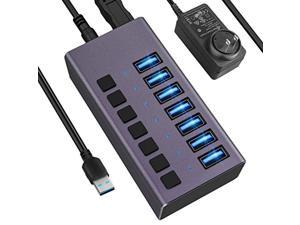 usb 3.0 hub -7 ports powered usb hub 36w usb charging hub with individual on/off switches and 12v/3a power adapter and light for pc, laptop, computer, mobile hdd, flash drive and m