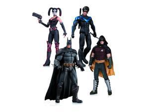arkham city: harley quinn, batman, nightwing, & robin action figure 4-pack