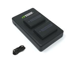 np-fw50 wasabi power battery (2-pack) & micro usb dual charger for sony alpha a5100, a6000, a6300, a6400, a6500, alpha a7, a7 ii, a7r, a7r ii, a7s, a7s ii, dsc-rx10 iii, rx10 iv &