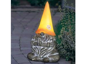 "exhart solar gnamaste yoga garden gnome|solar led peach light hat| outdoor zen & meditation inspired garden art|uv treated weather resistant gnome yogi statue for patio| 7.0"" l x 6"