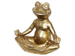 exhart golden meditating yoga frog garden statue in lotus pose, indoor/outdoor zen & yoga inspired garden art statue, uv- treated, weather-resistant frog statue for patio, 14? x 7.