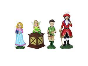 "exhart neverland mini figurine set - 4 piece mini statue garden set featuring peter pan, tinkerbell, wendy and captain hook - decorative resin statues for a fairy garden 2"" l x 2"""