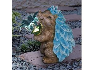 exhart solar blue hedgehog statue w/led flower - solar led light-up garden art statue - cute, outdoor hedgehog dcor, uv-treated, weather resistant resin statue for house or patio,