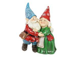 exhart garden gnomes couple statue - hugging gnome garden statue for indoors or out - hand-painted gnomes garden dcor - weather resistant resin gnome couple statue, 10? l x 6.5? w
