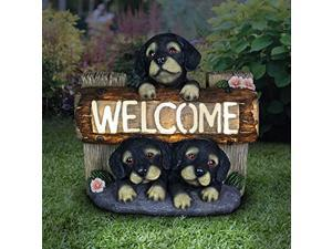 exhart light-up dog statue welcome sign - outdoor welcome signs for porch w/led lights & 3 puppies - dogs solar lights outdoor - weather resistant resin dog garden decor - 10.5? l