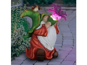exhart light-up gnome statue with led lily flower -solar powered, large garden gnome with bird on top - weather resistant resin gnome decor for garden, solar gnome, 10? l x 6.5 w?