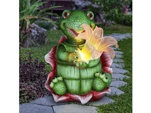 """exhart solar turtle garden statue w/led lily flower - solar turtle for outdoors flower art- weather resistant & uv-treated resin outdoor turtle statue for garden decor - 7.5"""" l x 5"""