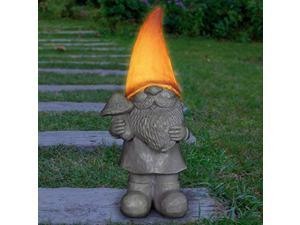 exhart happy gnome statue w/solar led peach hat light - indoor/outdoor garden gnome dcor - hand painted, uv-treated & weather-resistant gnome decoration yard, lawn or patio, (5? x