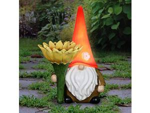 exhart solar sunflower simon garden gnome statue, 12 inch