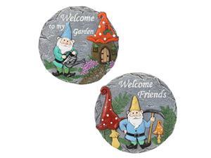 exhart 2 piece gnome stepping stones - welcome garden stone w/watering gnome - colorful garden stepping stones - hand painted resin outdoor stepping stones for garden, 10? l x 10?