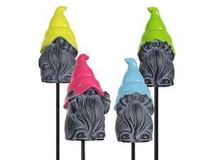 exhart gnome garden stakes w/neon hats (set of 4), garden gnome plant stakes - cute hat gnome yard stakes art dcor - durable & uv treated resin gnomes garden decorations for garden