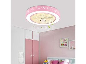 21.6 inch ceiling fan with light, acrylic led semi embedded lamp invisible blades with remote control light color adjustable star chandelier suitable (pink)