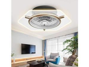 tfcfl modern ceiling fan with lights, 22 inches dimmable flush mount cooling fan acrylic chandelier 3 gear wind speed with remote temperature control for bathroom living room dinin
