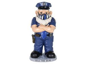 exhart police officer statue w/blue police flag mask, pandemic-inspired police garden statue, cute police gnome art dcor, durable hand painted resin police figurines for home dcor