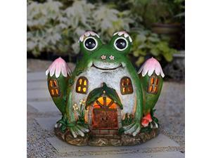 exhart solar hand painted frog fairy garden house statue, 10 by 8 inches