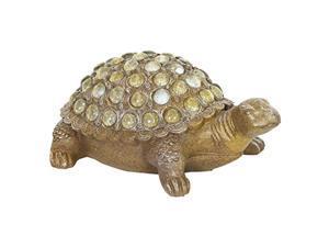 exhart turtle garden statue w/opalescent accents - durable, resin turtle art statue - cute, rustic design - weather-resistant indoor & outdoor garden dcor for lawn or patio, 12.5?