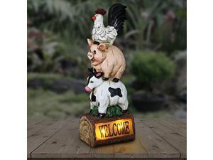exhart solar stacked chicken, pig & cow welcome sign garden statue - hand-painted farm animals resin statue w/solar led accent lights - solar welcome sign farm animals garden decor