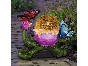exhart hummingbird figurine w/solar powered led purple light crackle glass orb - cute hummingbird decoration for lawn or patio - durable weather-resistant & uv-treated outdoor gard