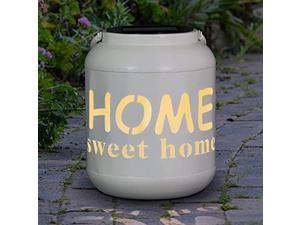 exhart ?home sweet home? solar hanging lanterns decorative - farmhouse style solar powered lantern w/led light - weather-resistant metal large outdoor lantern for patio & garden -
