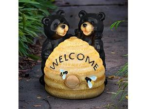 exhart solar bear statue w/bee hive welcome sign - bear welcome statue w/solar powered bee hive - uv-treated resin bee hive & bear outdoor light for garden - bear decor - 8? l x 7.