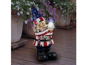 exhart patriotic funny garden statue w/battery powered led bird light | hand painted in vibrant color | outdoor art for patio or garden, uv treated & weather resistant gnome statue