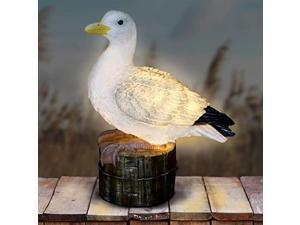 exhart solar seagull on a pier resin garden statue - hand-painted beach seagull garden figurine w/led solar garden lights - solar seagull decor for garden, yard, patio, and balcony