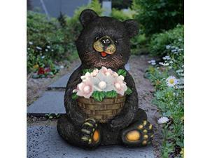 "exhart solar black bear holding a flower basket garden statue w/led lights - sitting bear statue decor lights, outdoor bear decor for garden, patio & lawn, 9.1"" l x 10.2"" w x 14.1"""