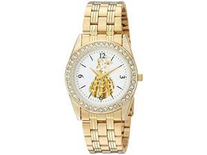 disney women's princess belle analog-quartz watch with stainless-steel strap, gold, 20 (model: wds000239)