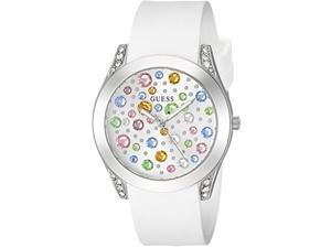 guess silver-tone + white stain resistant silicone multi-colored crystal watch. color: white (model: u1059l1)