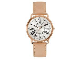 guess women's year-round stainless steel quartz watch with leather strap, beige, 20 (model: w1068l5)