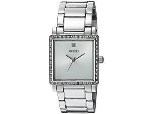 guess women's u0914l1 dressy silver-tone watch with white dial , crystal-accented bezel and stainless steel pilot buckle