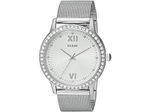 guess women's stainless steel crystal mesh bracelet watch, color: silver-tone (model: u0766l1)