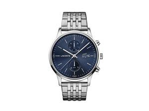 lacoste men's madrid quartz watch with stainless steel strap, silver, 22 (model: 2011067)
