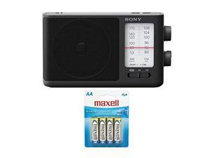 sony icf506 portable radio with aa alkaline batteries (4-pack) bundle (2 items)