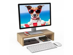 wood monitor riser stand computer riser stand desktop printer screen holder with cable clip organize desk for home office (natural)