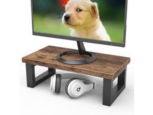 15.5 inches computer monitor riser stand desktop ergonomic wood desktop riser desk storage organizer for laptop computer (rustic brown)