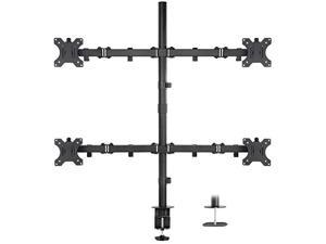 Mount-it! 4 Monitor Stand   Quad Monitor Desk Mount   Fits Four Computer Screens 19 21 24 27 29 30 32 Inches   Heavy Duty Height Adjustable Arms   VESA 75 100 Compatible   C-Clamp and Grommet Bases