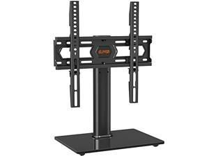 universal swivel tv stand, table top tv stand for 37-55 inch flat curved lcd led screens, height adjustable tv table stand with tempered glass base, wire management, max vesa 400x400mm, 88 lbs. elived