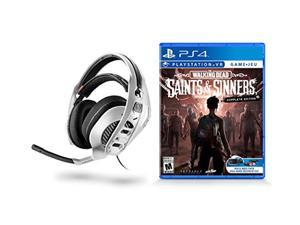 maximum games rig 4vr white stereo gaming headset for playstation + the walking dead: sinners and saints psvr - playstation 4