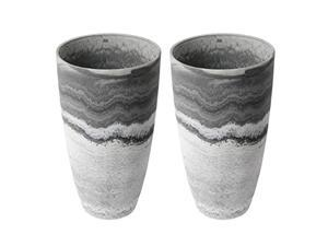 algreen 43429 acerra 12 inch diameter x 20 inch tall curved yard and patio vase garden flower plant planter pot, marble (2 pack)