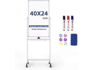 White Board with Stand, Mobile Whiteboard Magnetic 40 X 24 inches Double Sided Dry Erase Board on Wheels with 6 Magnets, 3 Markers, 1 Magnetic Dry Eraser for Home, Office, School