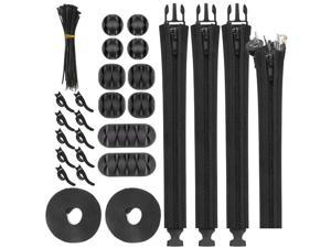 Cable Management Kit 126pcs,PC Cord Management Organizer with 4pcs Cable Sleeves 10pcs Self Adhesive Desk Cord Holder 10pcs and 2 Roll Reusable Wire Cable Tie 100pcs Black Zip Ties