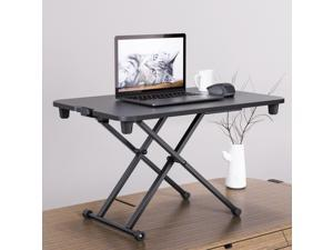 Standing Desk Converter, Ultra-Thin Height Adjustable Stand Up Desk Riser, 28 Inch Sit to Stand Desk Converter Powered by Gas Spring for Home Office