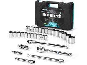 """DURATECH 1/2"""" Drive Socket Set, 33-piece, Including Metric/SAE Sockets, 1/2-Inch Ratchet, Breaker Bar and Socket Adapters"""