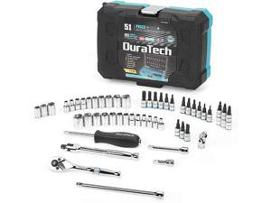 """DURATECH 1/4"""" Socket Set, 51 Piece Tool Set Including Standard(SAE) and Metric Sockets,Bit Sockets,Ratchet and Universal Joint"""
